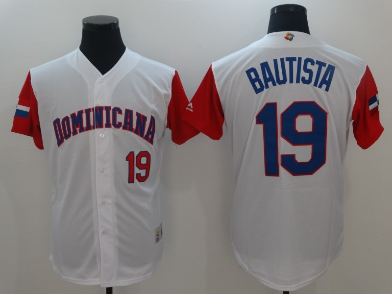 Men Dominican Republic Baseball 19 Jose Bautista Majestic White 2017 World Baseball Classic Replica Jersey
