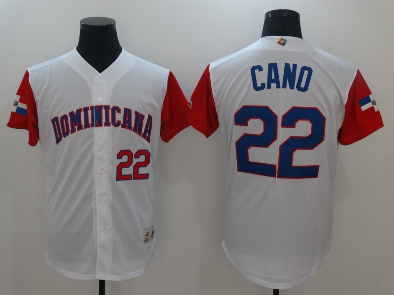 Men Dominican Republic Baseball 22 Robinson Cano White 2017 World Baseball Classic Replica Jersey