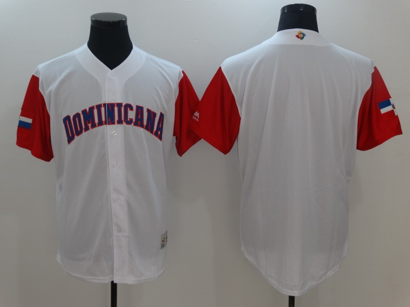 Men Dominican Republic Baseball Majestic White 2017 World Baseball Classic Replica Team Jersey