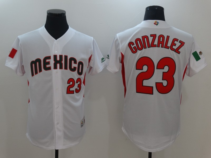 Men Mexico Baseball 23 Adrian Gonzalez M White 2017 World Baseball Classic Replica Jersey