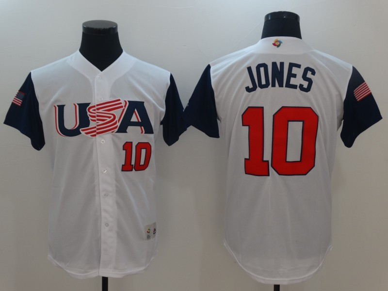 Men USA Baseball 10 Adam Jones White 2017 World Baseball Classic Replica Jersey