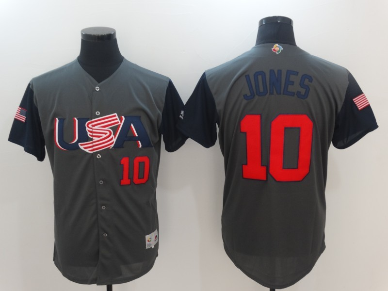 Men USA Baseball 10 Jones Gray 2017 World Baseball Classic Authentic Jersey