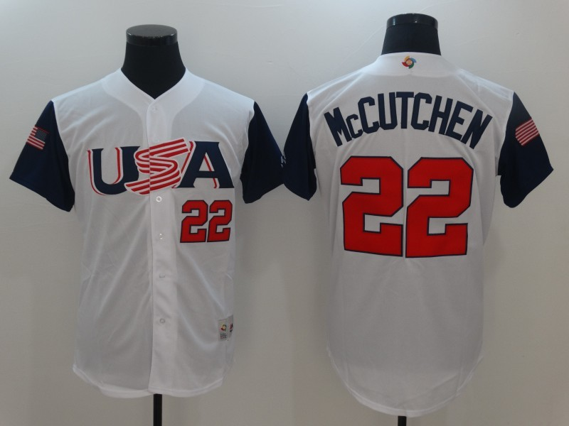 Men USA Baseball 22 Andrew McCutchen Majestic White 2017 World Baseball Classic Replica Jersey