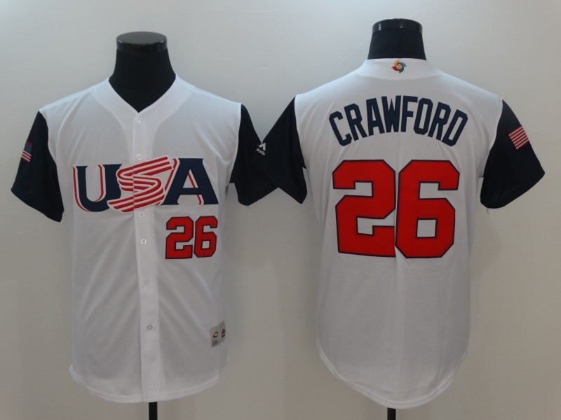 Men USA Baseball 26 Crawford White 2017 World Baseball Classic Authentic Jersey
