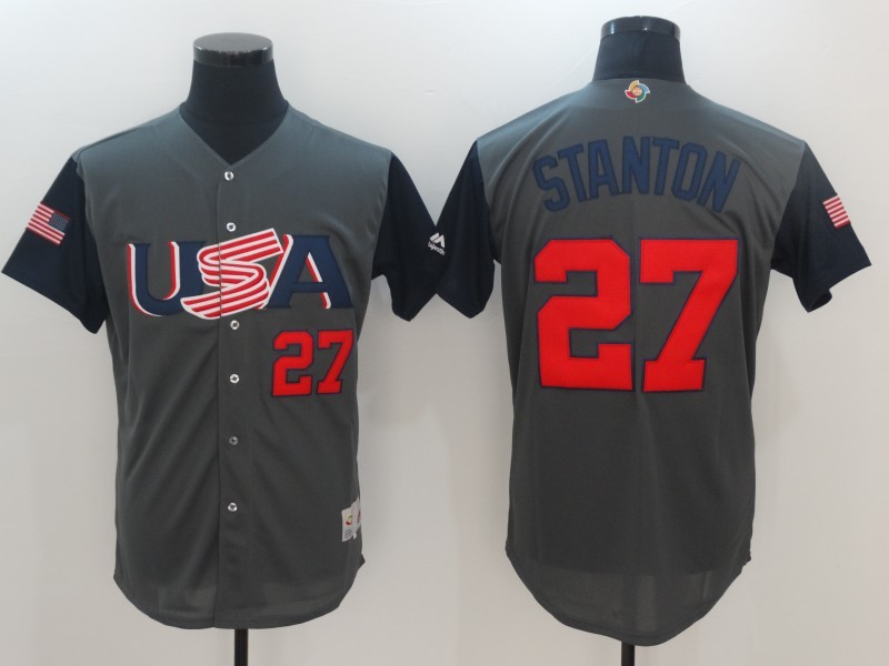 dfc6acdc2 Men USA Baseball 27 Stanton Gray 2017 World Baseball Classic Authentic  Jersey