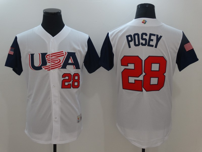 Men USA Baseball 28 Buster Posey White 2017 World Baseball Classic Authentic Jersey