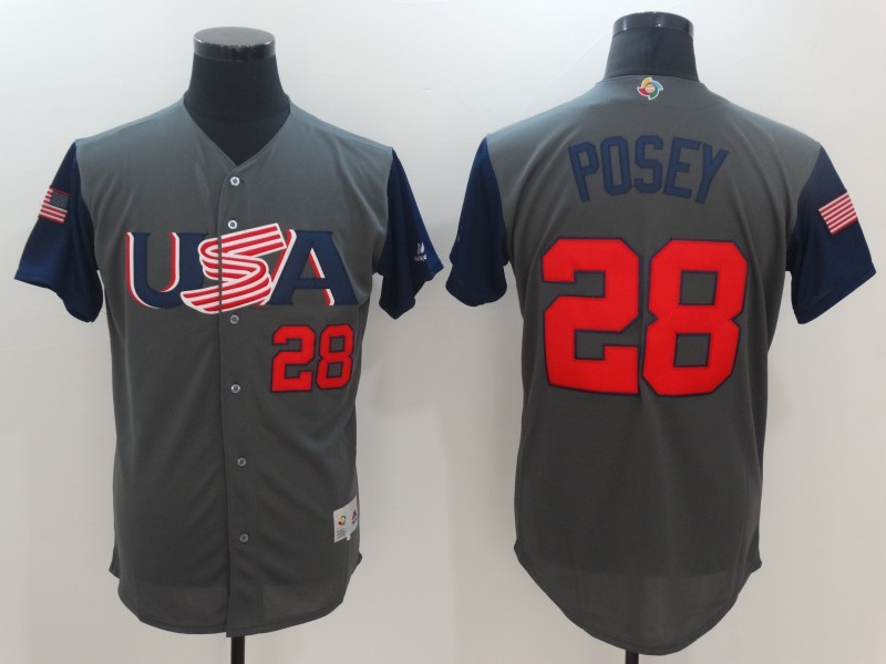 Men USA Baseball 28 Buster Posey Gray 2017 World Baseball Classic Replica Jersey