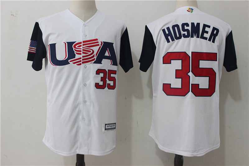 Men USA Baseball 35 Eric Hosmer Majestic White 2017 World Baseball Classic Authentic Jersey