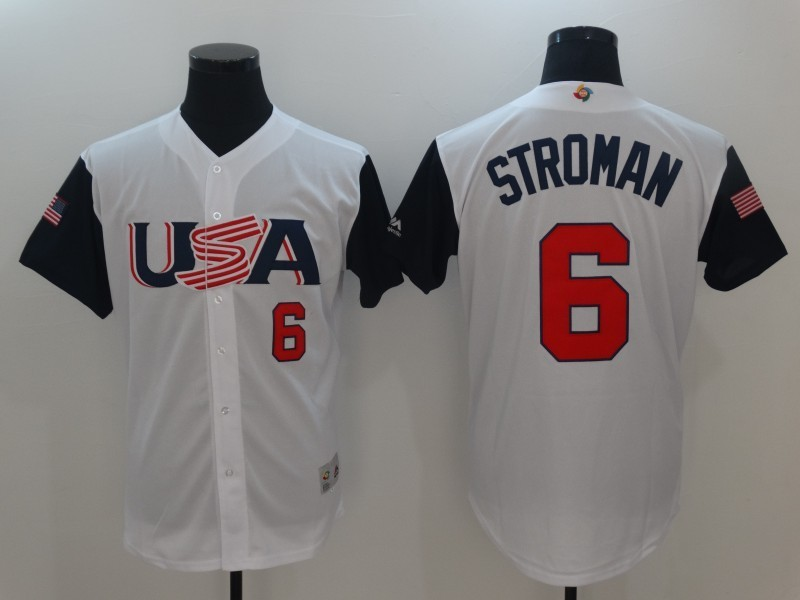 Men USA Baseball 6 Stroman White 2017 World Baseball Classic Authentic Jersey