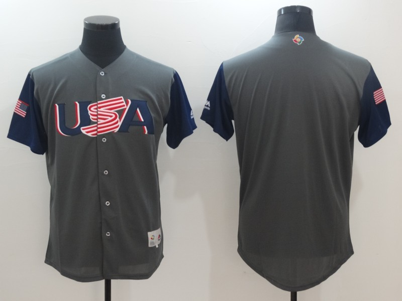 Men USA Baseball Majestic Gray 2017 World Baseball Classic Authentic Team Jersey