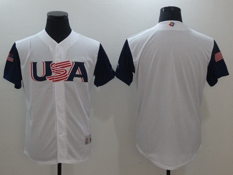 Men USA Baseball Majestic White 2017 World Baseball Classic Authentic Team Jersey