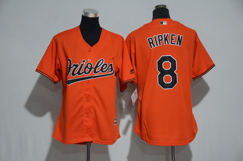Womens 2017 MLB Baltimore Orioles 8 Ripken Orange Jerseys
