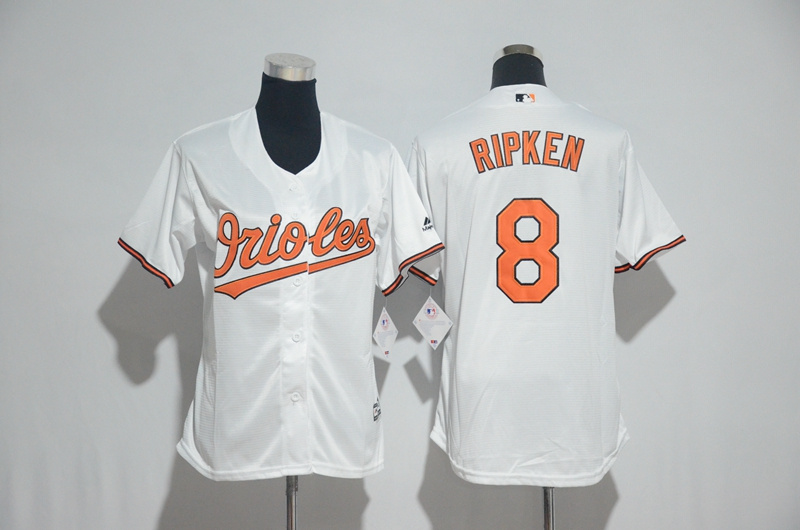 Womens 2017 MLB Baltimore Orioles 8 Ripken White Jerseys