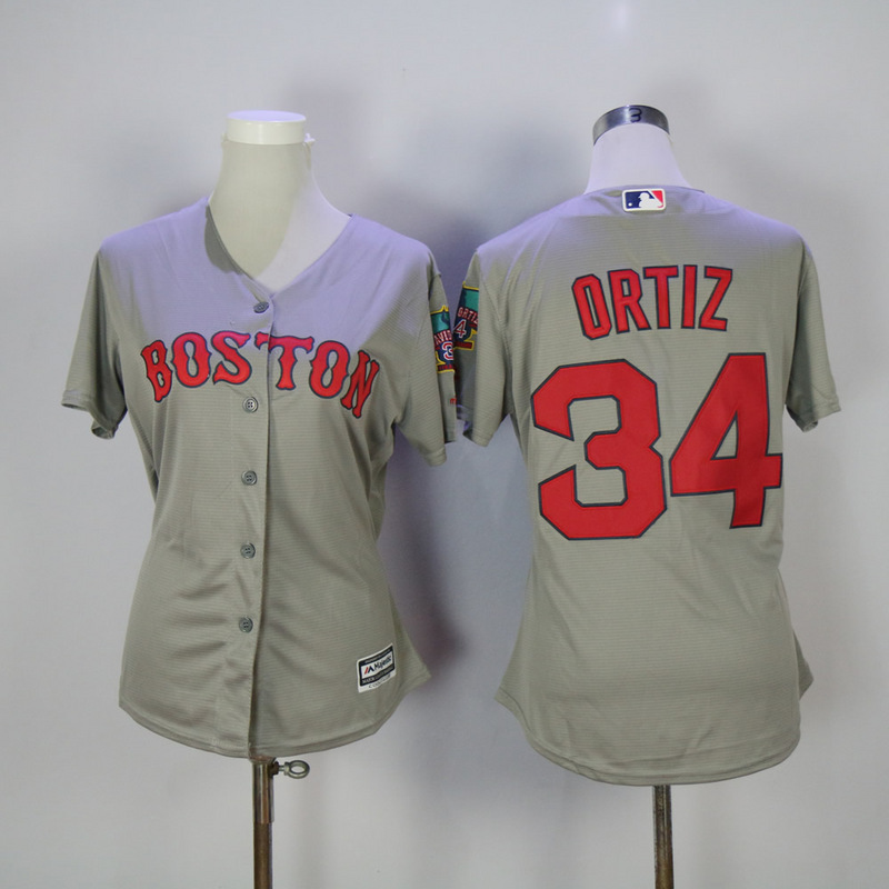 Womens 2017 MLB Boston Red Sox 34 Ortiz Grey Jerseys