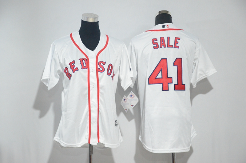Womens 2017 MLB Boston Red Sox 41 Sale White Jerseys