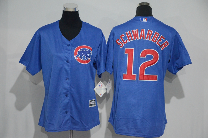 Womens 2017 MLB Chicago Cubs 12 Schwarber Blue Jerseys