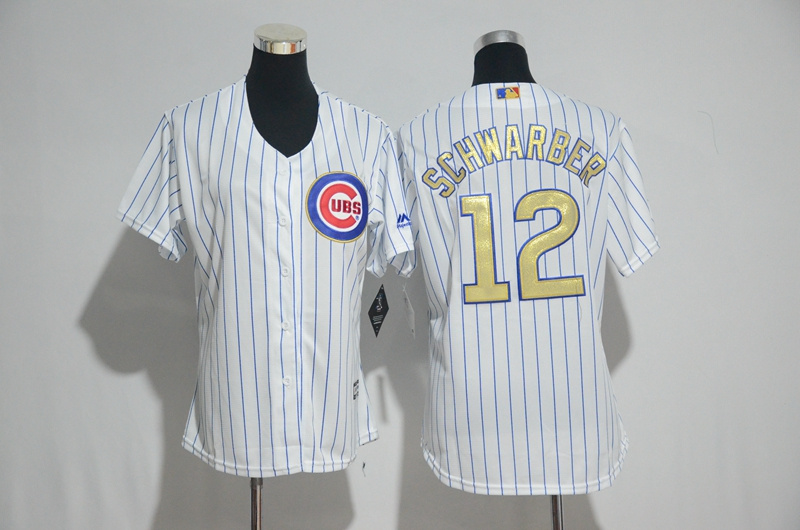 Womens 2017 MLB Chicago Cubs 12 Schwarber CUBS White Gold Program Jersey
