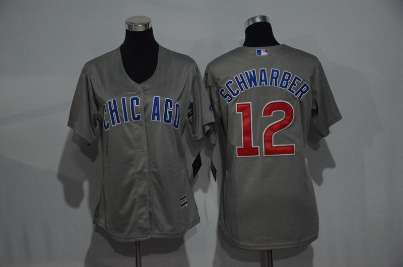 Womens 2017 MLB Chicago Cubs 12 Schwarber Grey Jerseys