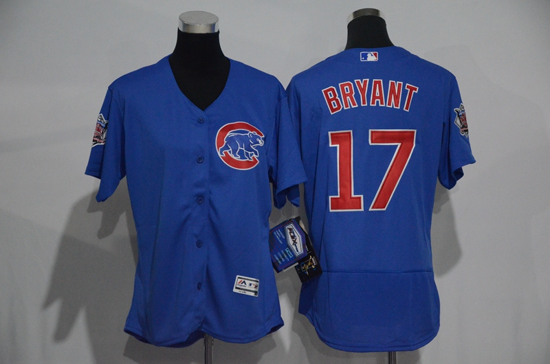 Womens 2017 MLB Chicago Cubs 17 Bryant Blue Elite Jerseys