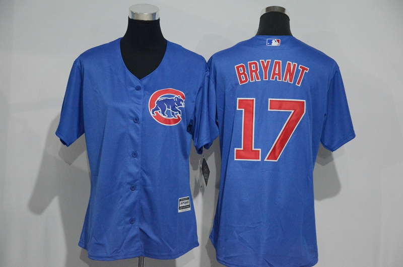 Womens 2017 MLB Chicago Cubs 17 Bryant Blue Jerseys