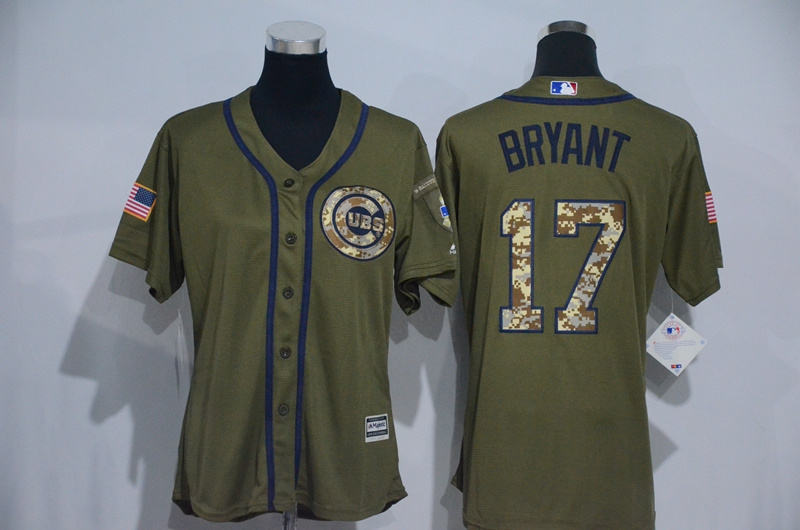 Womens 2017 MLB Chicago Cubs 17 Bryant Green Salute to Service Stitched Baseball Jersey