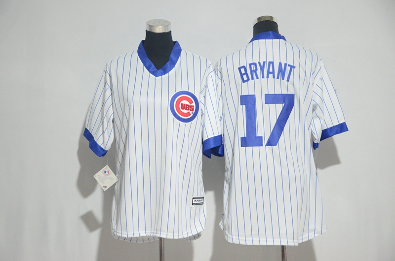 Womens 2017 MLB Chicago Cubs 17 Bryant White stripe Jerseys