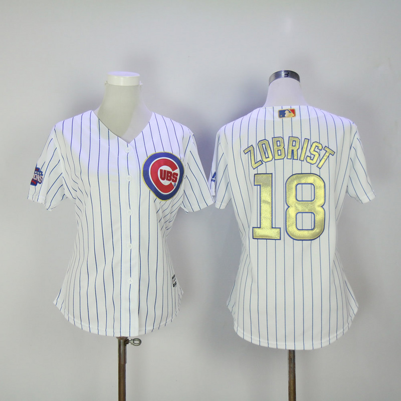 Womens 2017 MLB Chicago Cubs 18 Zobrist CUBS White Gold Program Jersey