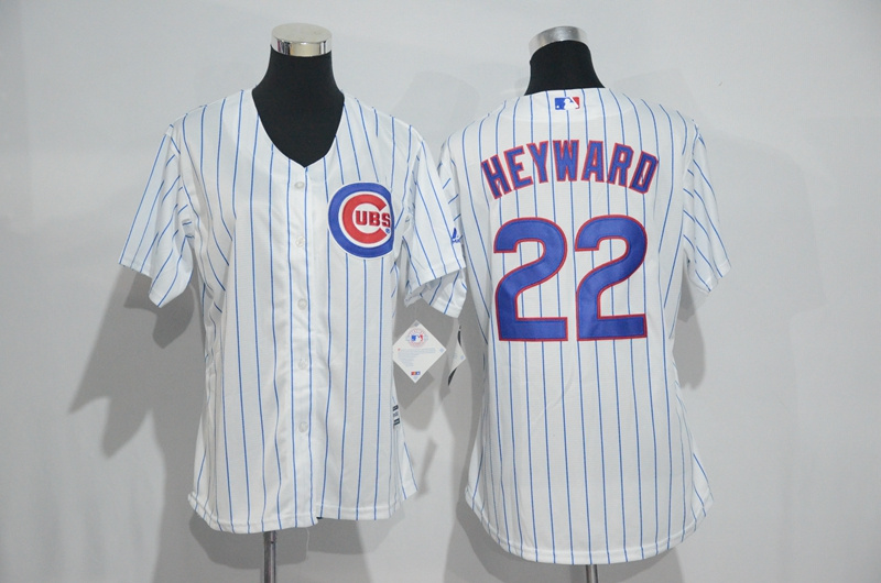 Womens 2017 MLB Chicago Cubs 22 Heyward White Jerseys