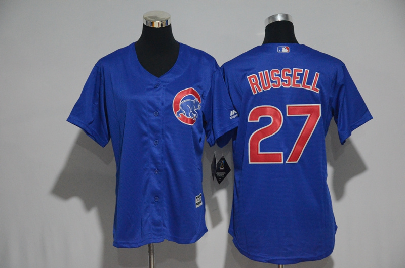 Womens 2017 MLB Chicago Cubs 27 Russell Blue Jerseys