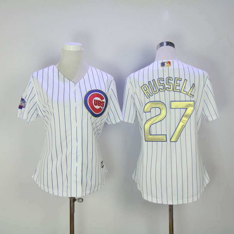 Womens 2017 MLB Chicago Cubs 27 Russell CUBS White Gold Program Jersey