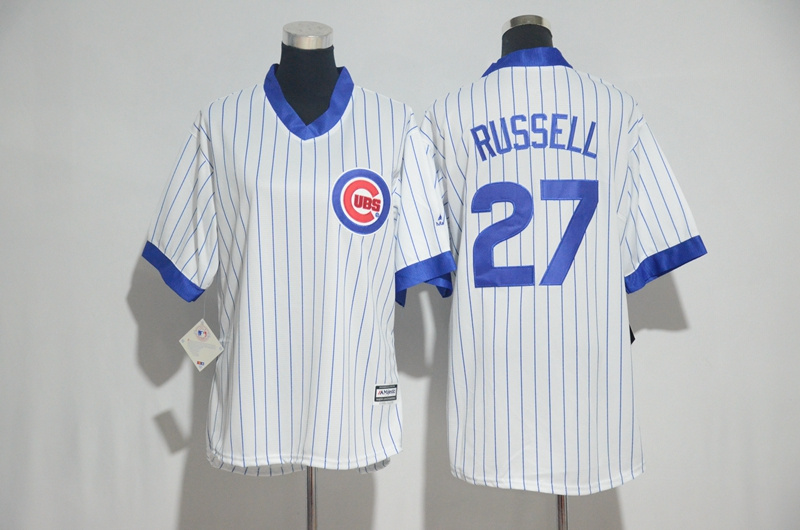 Womens 2017 MLB Chicago Cubs 27 Russell White stripe Jerseys