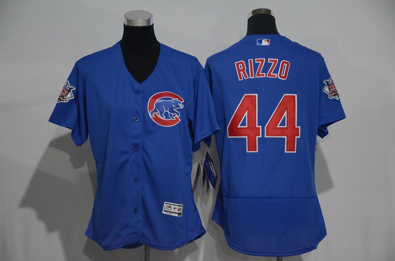 Womens 2017 MLB Chicago Cubs 44 Rizzo Blue Elite Jerseys