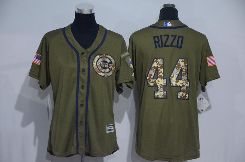 Womens 2017 MLB Chicago Cubs 44 Rizzo Green Salute to Service Stitched Baseball Jersey