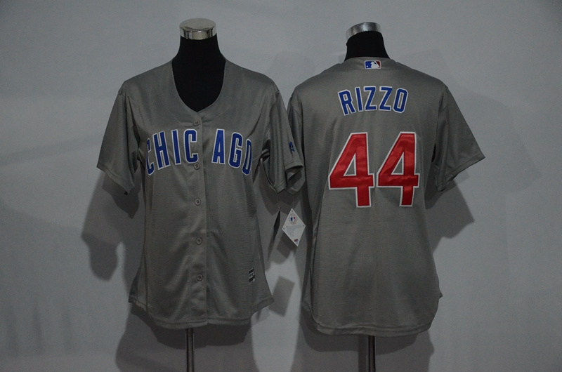 Womens 2017 MLB Chicago Cubs 44 Rizzo Grey Jerseys