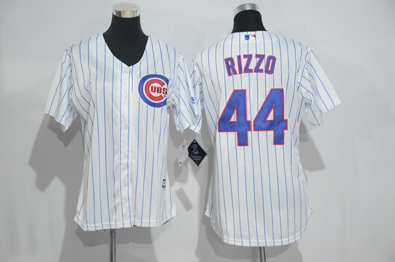 Womens 2017 MLB Chicago Cubs 44 Rizzo White Jerseys