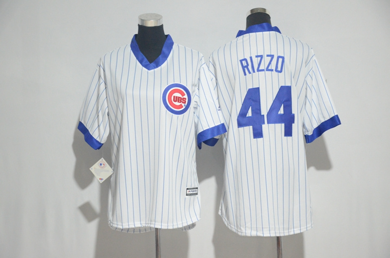 Womens 2017 MLB Chicago Cubs 44 Rizzo White stripe Jerseys