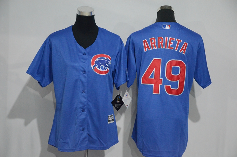 Womens 2017 MLB Chicago Cubs 49 Arrieta Blue Jerseys
