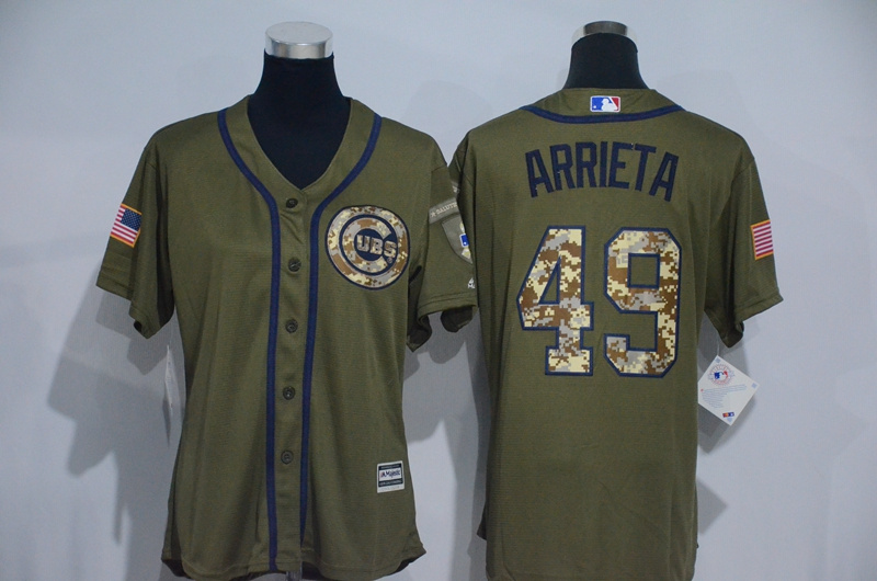 Womens 2017 MLB Chicago Cubs 49 Arrieta Green Salute to Service Stitched Baseball Jersey