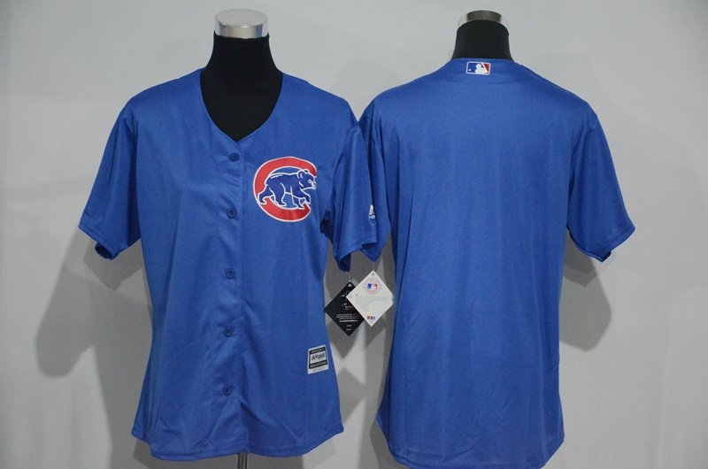 Womens 2017 MLB Chicago Cubs Blank Blue Jerseys