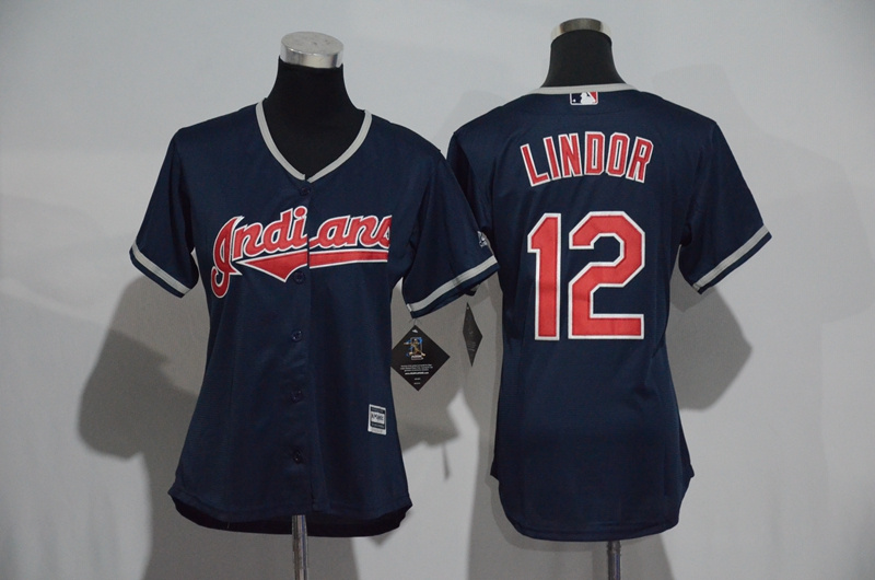 Womens 2017 MLB Cleveland Indians 12 Lindor Blue Jerseys