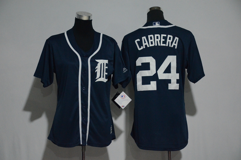 Womens 2017 MLB Detroit Tigers 24 Cabrera Blue Jerseys