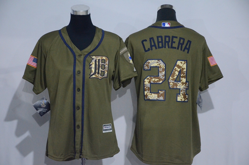Womens 2017 MLB Detroit Tigers 24 Cabrera Green Salute to Service Stitched Baseball Jersey