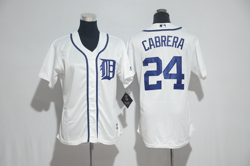 Womens 2017 MLB Detroit Tigers 24 Cabrera White Jerseys