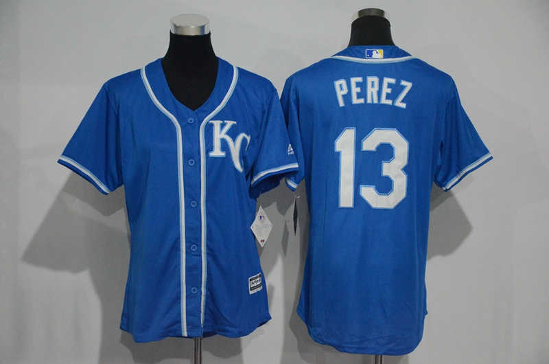 Womens 2017 MLB Kansas City Royals 13 Perez Blue Jerseys
