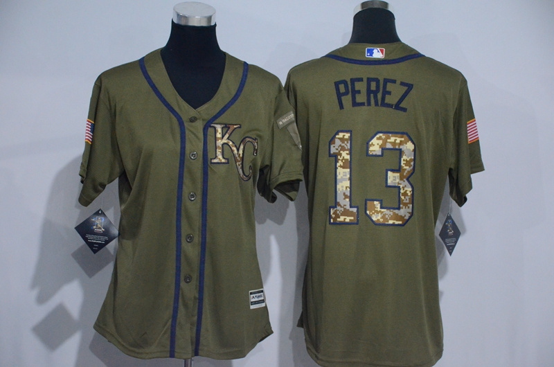 Womens 2017 MLB Kansas City Royals 13 Perez Green Salute to Service Stitched Baseball Jersey