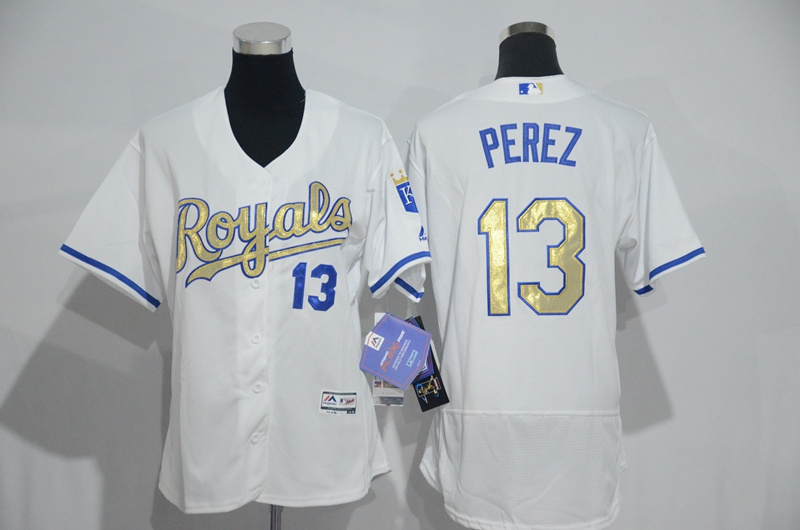 Womens 2017 MLB Kansas City Royals 13 Perez White Gold Elite Jerseys