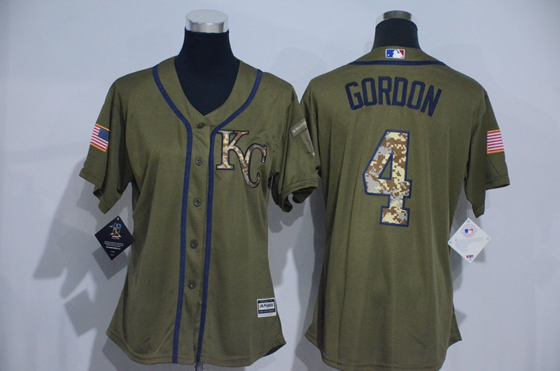 Womens 2017 MLB Kansas City Royals 4 Gordon Green Salute to Service Stitched Baseball Jersey