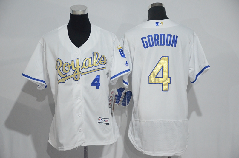 Womens 2017 MLB Kansas City Royals 4 Gordon White Gold Elite Jerseys
