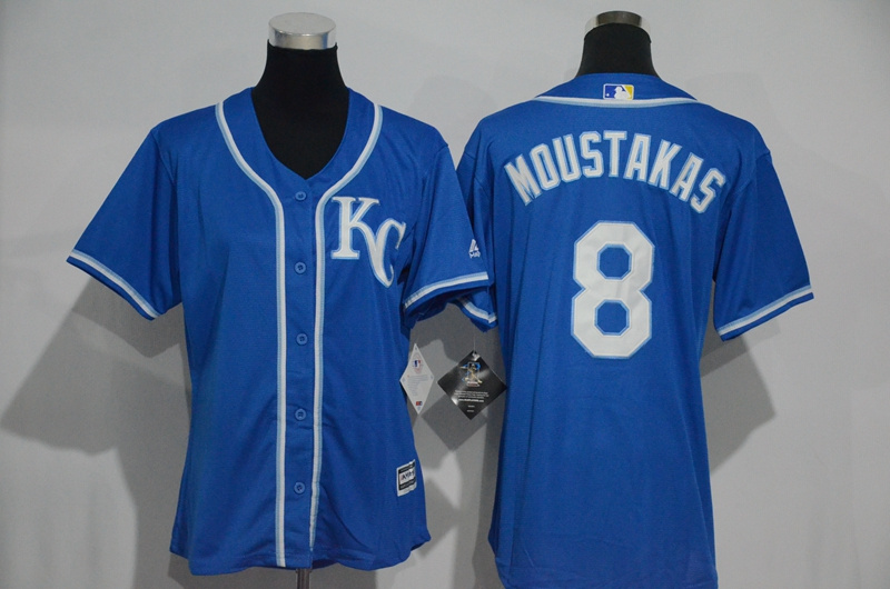 Womens 2017 MLB Kansas City Royals 8 Moustakas Blue Jerseys