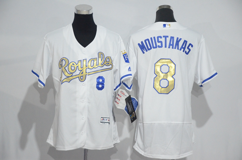Womens 2017 MLB Kansas City Royals 8 Moustakas White Gold Elite Jerseys